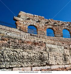 detail of the side wall of the Arena of Verona, Italy. ancient roman riuns