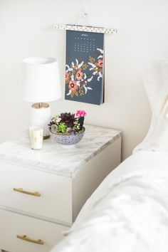 Ikea MALM end table upgrade. Marble contact paper and 2 drawer pulls. Ikea Malm Drawers, Ikea Malm Nightstand, Marble Nightstand, Marble Bedroom, Ikea Bedroom, Bedroom Decor, Bedroom Ideas, Ikea Side Table, Side Tables Bedroom