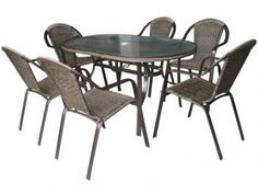 Conjunto de Mesa com 6 Cadeiras Kalahari - Mor