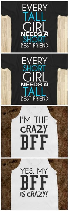 Clothing T-Shirts and Fashion Archives Collectors Deals - Crazy Shirt - Ideas of Crazy Shirt - Love the crazy BFF one! I want to get the one that says my BFF is crazy for you Trina! Bff Quotes, Best Friend Quotes, Friendship Quotes, Funny Quotes, Funny Friendship, Qoutes, Best Friend Outfits, Best Friend Shirts, Best Friends