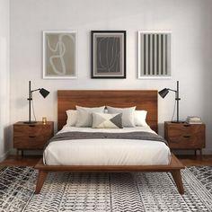 Solid Wood Platform Bed, Modern Platform Bed, Platform Beds, Bedroom Apartment, Home Bedroom, West Elm Bedroom, Cama Vintage, Mid Century Modern Bedroom, Bedroom Modern