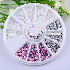 Round Wheel Nail Art Flat Back Mixed Color Round Acrylic Rhinestone For Nail Art Decorations