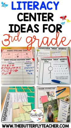 Literacy centers are a great way to help grade students practice ELA skills and standards. This post shares ideas for reading, writing, word work, and grammar stations that are great for third graders. 3rd Grade Words, Third Grade Writing, Grade 3, Fourth Grade, Reading Stations, Reading Centers, Reading Binder, Work Stations, Third Grade Centers
