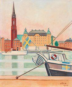 EINAR JOLIN, View of Riddarholmen, Stockholm. Signed Jolin and dated 1940. Panel 46 x 38 cm.. - Spring Modern Auction, Stockholm 572 – Bukowskis