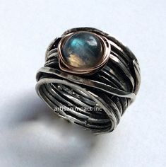 Silver wedding band, Labradorite ring, wide band, silver band, two tones ring…