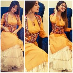 Beautiful sajal aly on Bollywood tour Pakistani Dress Design, Pakistani Outfits, Indian Outfits, Frock Fashion, Fashion Dresses, Party Wear Dresses, Casual Dresses, Casual Wear, Girls Dresses