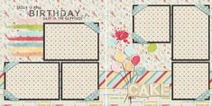 Birthday scrapbook pages, just add your photos. Easy scrapbooking for anyone! Quick pages are the way to go to scrapbook your memories! Birthday Scrapbook Layouts, Scrapbook Layout Sketches, Scrapbook Titles, Scrapbook Templates, Scrapbook Designs, Scrapbook Journal, Scrapbook Supplies, Graduation Scrapbook, Couple Scrapbook