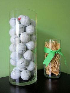 Decorations,Extraordinary Console Table Decor For Living Room With Glass Tower Golf Storage And Golf Ball Stopper Complete With Green Ribbon,Lovely Golf Decorating Ideas For Homes