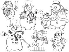 70% OFF SALE Black & White Snowman Clipart - Digital Vector Christmas, New Year, Snowmen Clip Art #clipart #vector #illustration #thecreativemill