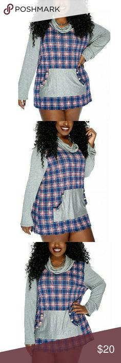 NAVY GREY CHECKER PATTERN PRINT CASUAL TOP This casual top is perfect for relaxing at home. The features includes the cowl neckline, long sleeves, checker pattern print, front pouch pocket with a button trim, and finished off with a loose fitted wear. Polyester Tops