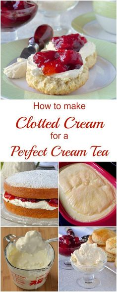 How to make Clotted Cream for the Perfect Cream Tea - it takes very little effort and really just time to make thick, rich, velvety cream perfect for slathering on fresh scones with your favourite jam. (how to make cake filling recipes) Afternoon Tea Recipes, Afternoon Tea Parties, Just Desserts, Dessert Recipes, Tea Party Desserts, Tea Party Recipes, Baking Desserts, Health Desserts, Food For Tea Party