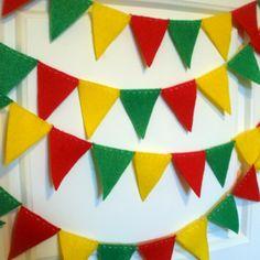 Reggae Red Green and Yellow Felt Garland 7 feet by softandcozy