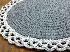 Crochet Rug Round Rug Cotton Rug Knitted Rug Gray by OmaniStudio Mandala Au Crochet, Crochet Doily Rug, Crochet Carpet, Crochet Rug Patterns, Crochet Home, Love Crochet, Crochet Crafts, Hand Crochet, Crochet Projects