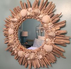 Round Starfish Driftwood Shell Mirror Round White Beach House Decor Coastal Seaside Nautical by CastawaysHall - Ready to Ship