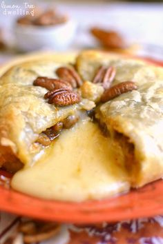 Pumpkin Pecan Baked Brie - just 4 ingredients! Perfect for fall! Click through for recipe!
