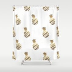 golden pineapples shower curtain
