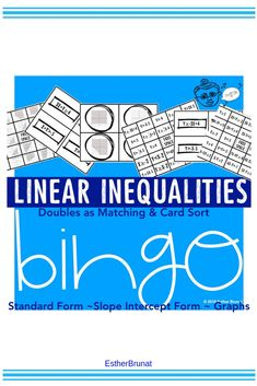 Linear Inequality Bingo and Match Card Sort. 3 in 1 Resource for Algebra. Middle School, High School, Precalculus, Standard Form, Algebra 1, Matching Cards, Teaching Math, Bingo, Sorting