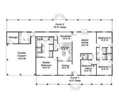 30x50 rectangle house plans | Expansive One-Story I would add a ...