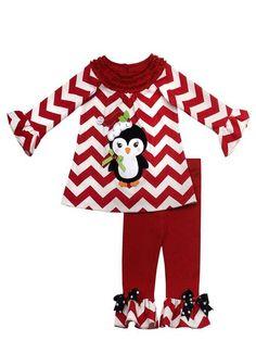 RARE Editions Girls Christmas Chevron Penguin Outfit Sizes 4 5 6 6X Girls | eBay