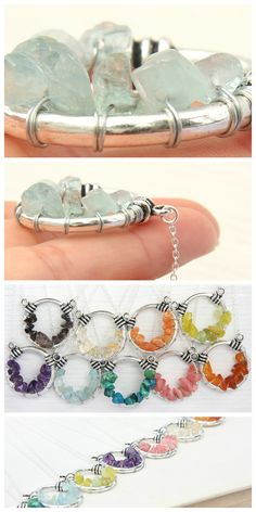 Aquamarine Necklace, Wire Wrapped Aquamarine . Silver Aquamarine Pendant. Light #Blue #Aquamarine #Crystal Cluster. Sterling Silver Chain