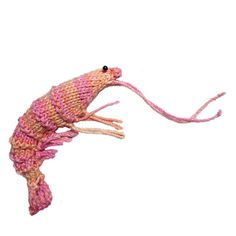 LaPrawnda the Shrimp - free knitting pattern by Ashley Dorian Medwig. Crochet Animal Patterns, Stuffed Animal Patterns, Knitting Patterns, Crochet Food, Crochet Yarn, Knitting Projects, Crochet Projects, Sea Crafts, Textile Fiber Art