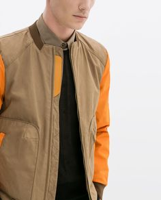 ZARA - SALE - JACKET WITH POCKETS AND CONTRASTING SLEEVES