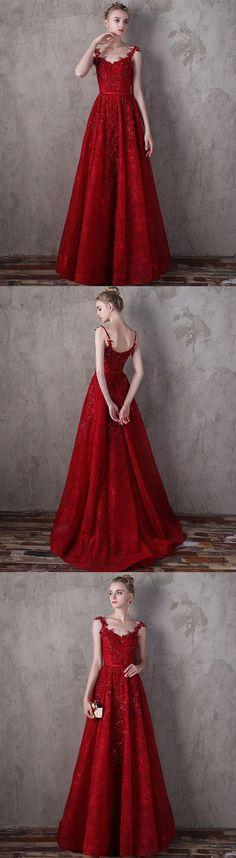 Stylish burgundy lace long prom dress, lace evening dress, burgundy lace long formal dress