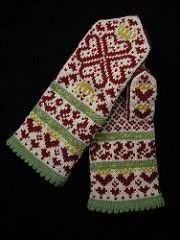 Inspired by an antique playing card from Germany, Mary's Queen Of Hearts Mittens are a whimsical slice of folklore.