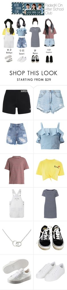 """""""FadedX On After School Club"""" by kpopoutfitsx ❤ liked on Polyvore featuring NIKE, Nobody Denim, Retrò, Miss Selfridge, M.i.h Jeans, Topshop, Sacai, Cartier, Vans and Puma"""