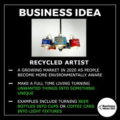 Todays business idea is a particularly environmentally conscious one. The profits will never be huge but it's a wholesome way to make a bit of extra cash in your spare time. Top Business Ideas, Home Based Business, Start Up Business, Business Planning, Online Business, Business Coach, Creating Wealth, Business Motivation, Way To Make Money