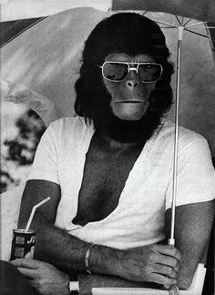Roddy McDowall on the set of Planet of the Apes. [only partially in character..]