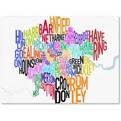 Trademark Art 'London Text Map' Canvas Art by Michael Tompsett, Size: 18 x 32, Multicolor