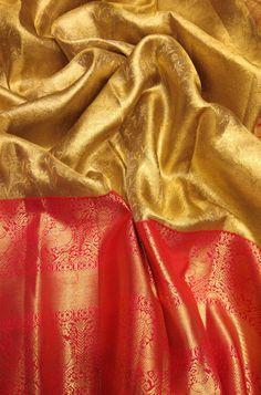 Buy online Golden Handloom Kanjeevaram Pure Silk Saree With Big Border Kanjivaram Sarees Silk, Kanchipuram Saree, Pure Silk Sarees, Indian Bridal Sarees, Wedding Silk Saree, Saree Color Combinations, Golden Saree, Saree Floral, Wedding Saree Collection