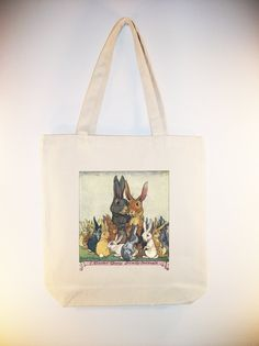 Vintage Easter Bunny Family 15x15 Canvas Tote with Shoulder Strap -- larger zip top tote style and personalization available