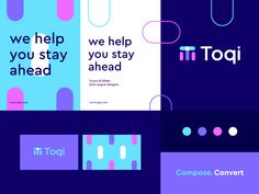 Toqi - Identity system designed by Ahmed creatives. Connect with them on Dribbble; the global community for designers and creative professionals. Brand Identity Design, Corporate Design, Branding Design, Logo Design, Startup Branding, Marketing, Web Design, Design Trends, Design Ideas