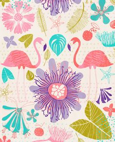 Another one from the archives - a fine pair of flamingos Pattern Illustration, Graphic Illustration, Flamingo Illustration, Textures Patterns, Print Patterns, Summer Prints, Design Graphique, Stuffed Animal Patterns, Surface Pattern Design