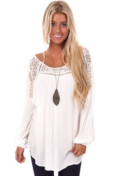 d1b0cd865f4 Lime Lush Boutique - White Lace Picot Off Shoulder Peasant Top, $48.99  (http:
