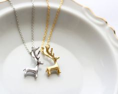 Reindeer Necklace - Silver or Gold Reindeer Necklace Deer Antler Necklace Jewelry Silver Reindeer Christmas Necklace Gift Holiday Gift