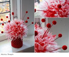 Pink Red Christmas Party Centerpiece Theme With Pink Coffee Filter Christmas Flower And Red Sparkling Beads Vase Decoration Inspiration 1600×1333 Christmas party centerpiece ideas