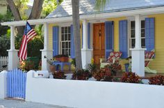 Key West House Colors | Adirondack furniture painted to match the house colors, colorful ...