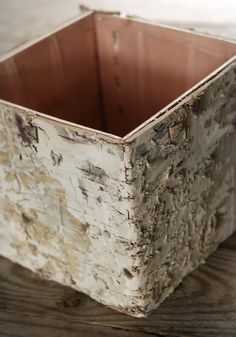 "Birch Bark Covered 5"" Square Pot $4.59 each / 6 for $4 each- would be nice with forced bulbs for the holidays"