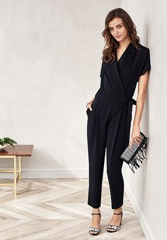Get this effortlessly chic pulled together look with our tuxedo style ankle length jumpsuit. simple accessorize with a fringe lined clutch and heels and go | Banana Republic