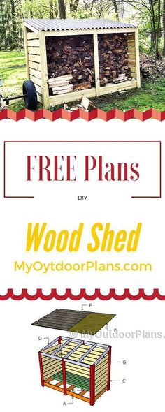 Easy to follow and free firewood storage shed plans! Learn how to build a wood shed using my step by step diagrams and detailed instructions! myoutdoorplans.com #shed #diy