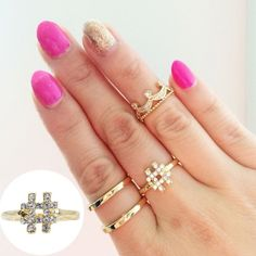 18kt gold Czech crystal hashtag ring Available in sizes 5, 6 and 7! Gorgeous 18kt gold plated ring. T&J Designs Jewelry Rings