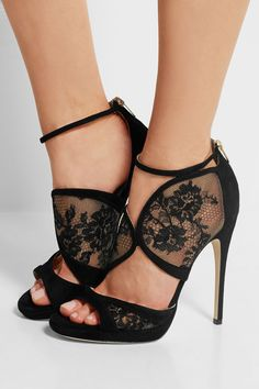 Jimmy Choo | Flyte lace and suede sandals | NET-A-PORTER