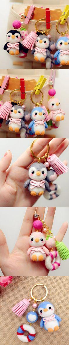 Handmade Needle felted felting animal cute penguins keychain felted wool doll