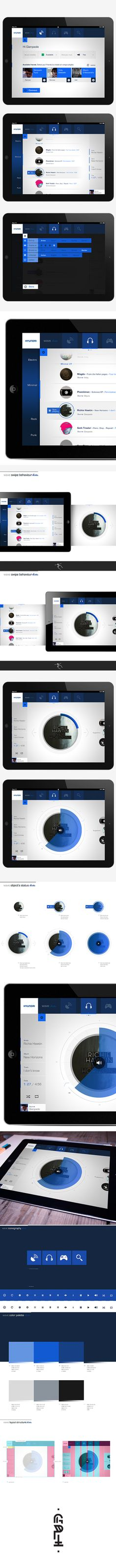 Nice flat design example: wave App #UI  -  iPad application design by Gianpaolo Tucci, via Behance