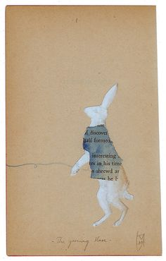 Yarning Hare | vintage paper collage and watercolour