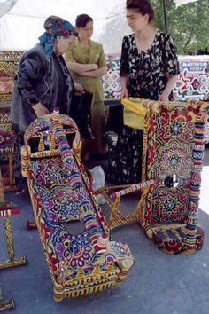 Buying a cradle, Khiva, Uzbekistan World Street, Baby Bassinet, Silk Road, Central Asia, Kazakhstan, World Cultures, People Around The World, Vera Bradley Backpack, Doll Accessories