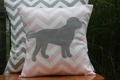 Love!  Puppy nursery theme: Modern Chevron Soft Pink Puppy Pillow Cover  Soft by nest2impress,
